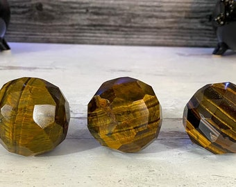 40mm Faceted Tiger's Eye Spheres, Faceted sphere, Tiger's Eye Crystal Sphere
