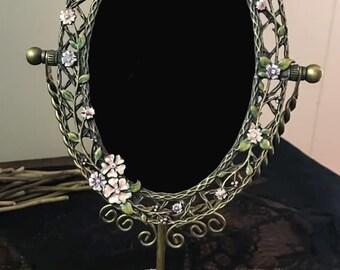 Vintage Cloisonné Dragonfly Metal Brass Swivel Mirror, Cloisonné Scrying Mirror; Vintage Enamel Tilt Scrying Mirror