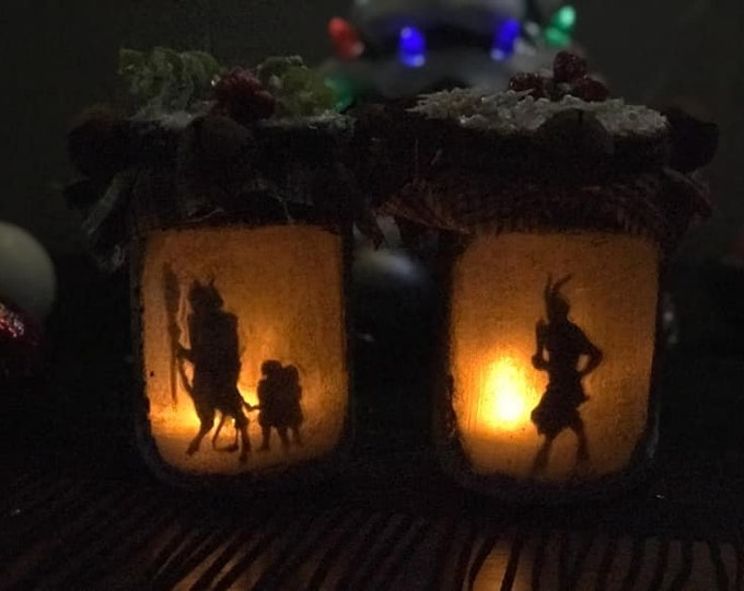 Featured listing image: Krampus Jar Light, Krampus Jar Lantern, Yule decoration, Christmas Decor, Gruss Von Krampus