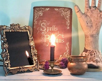 Gorgeous small brass art nouveau roses antique scrying mirror, witch's mirror,black divination mirror, vintage scrying divination mirror