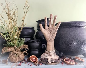 Palmistry Palm Reading Hand,Romantic Fortune Teller Decor, Gypsy Bohemian Decorative Hand, Primitive Decorative Chiromancy Palm Reader Hand