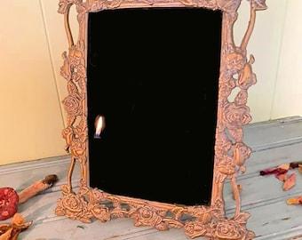 Vintage pewter rose scrying mirror, Roses scrying mirror, antique pewter scrying mirror