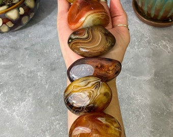 Sardonyx Palm Stone, Beautiful banded Sardonyx Palms