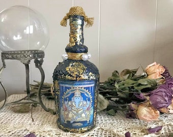Ganesh Decorative Bottle, Altar Decoration, Ganesha Decoration, Mixed Media Decor