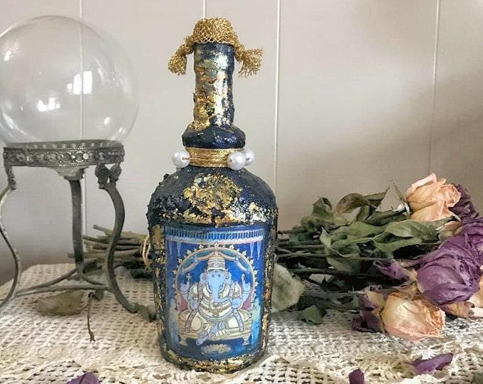 Featured listing image: Ganesh Decorative Bottle, Altar Decoration, Ganesha Decoration, Mixed Media Decor