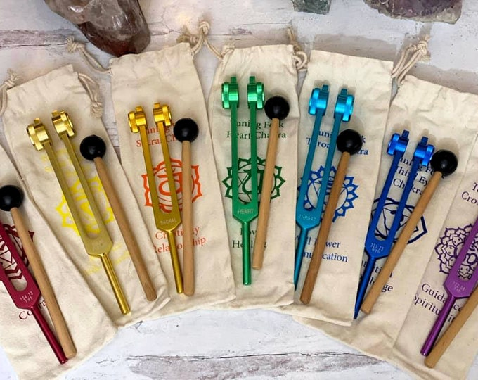 Featured listing image: Your Choice One Chakra Tuning Fork with storage bag and mallet