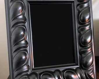 Beautiful Wooden Black Scrying Mirror, Ornate Scrying Mirror, Witch's Black Mirror