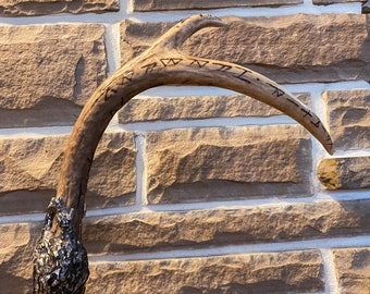 Handcrafted vitki volva antler staff, handcrafted Norse pagan wand