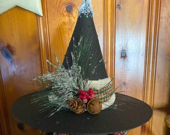 Limited Edition Snowy Yuletide Witch Hat, Tree Topper, Glittery Witch Hat, Bewitching Handmade Hat, Decorative Witch Hat