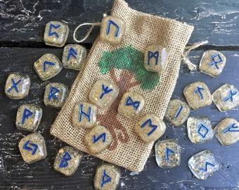 Runes Stones Set, Tears of Freyja Rune Set, Handmade Elder Futhark Rune Stones, Elder Futhark Runes, Heathen Viking Freya Rune Set Asatru
