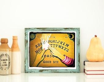 "Original Art Print Ouija Board art, ""The Visitor"" ghost art, Spirit Art, Spirit board artwork, Talking Board Art"