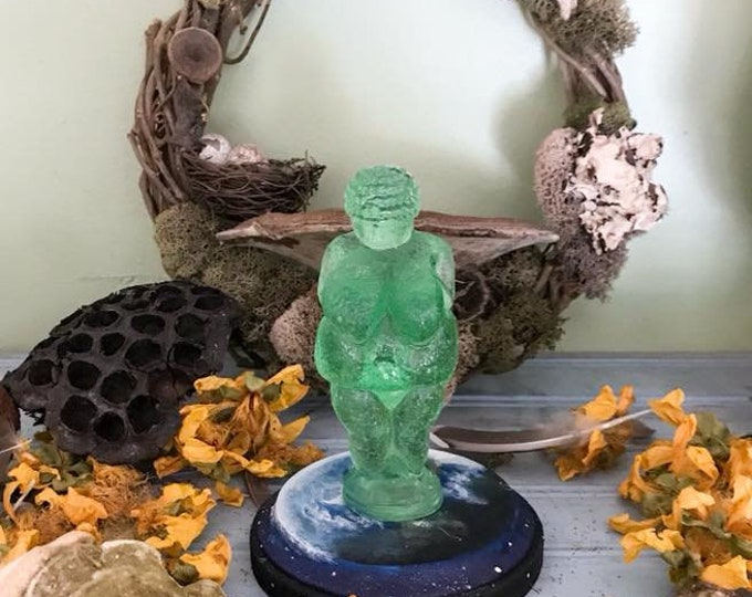 Featured listing image: Altar Goddess, Venus Goddess Figure, Venus of Willendorf, Handpainted Venus of Willendorf, Altar Goddess Figure with handpainted base