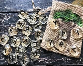 Runes Stones Set, Snake Elder Futhark Set, Rune Set with Bag, Snake Skin Runes, Handmade Elder Futhark, Viking Norse Heathen Divination Tool