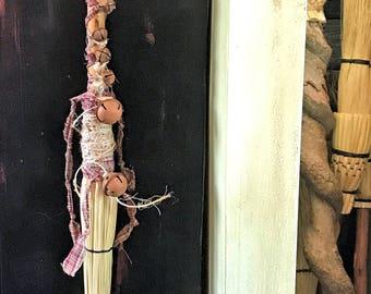 Rustic Wedding Broom,Primitive Witch's Broom Besom,Decorated Broom,Decorated Besom,Ritual Besom,Primitive Rusty Bells Decorative Broom