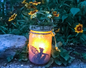 Lighted Fairy Jar, Fairy Lantern, Fairy In a Jar, Fairy Light, Birthday Gift,Wedding Decoration,Baby Shower, Party Decoration