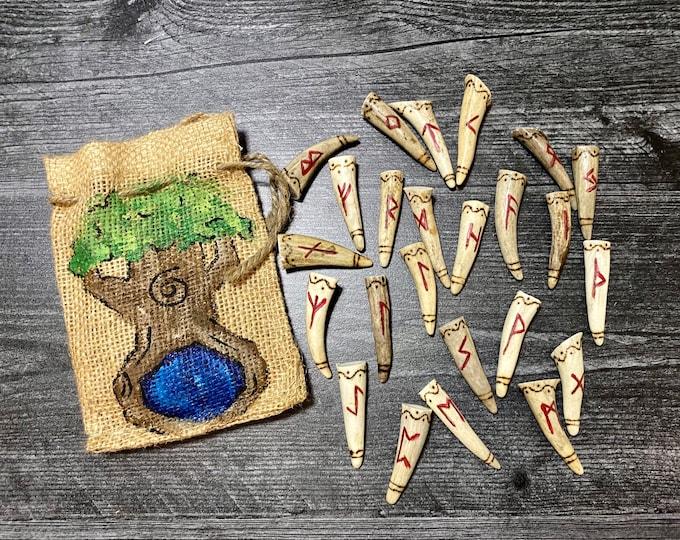 Featured listing image: Large Full Set of Elder Futhark Antler runes with bag