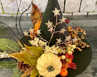 LARGE SIZE Limited Edition Autumn Witch Halloween Witch Hat, Tabletop Centerpiece, Glittery Witch Hat,  Decorative Witch Hat