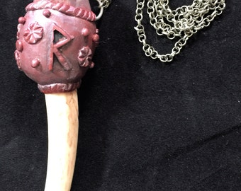Antler Rune Raidho Necklace,Rustic Antler Necklace,Handcrafted Rune Pendant, Gemstone Futhark Viking Necklace,Norse Heathen Magical
