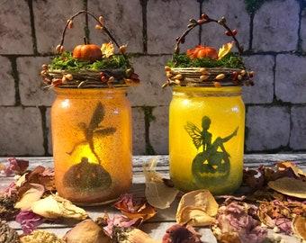 Autumn Fairy Jar, Pumpkin Spice Fairy Lantern, Fairy In a Jar, Fairy Light, Birthday Gift,Wedding Decoration,Baby Shower, Party Decoration