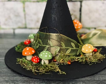 Halloween Whimsical Witch Tree Topper, Mushroom Tree Topper