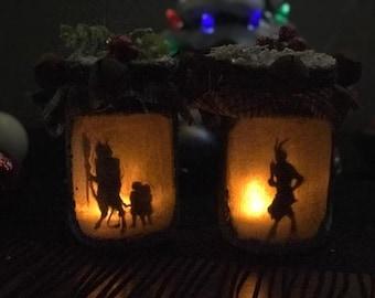 Krampus, Merry Krampus, Gruss Vom Krampus, Krampus Jar Light, Krampus Jar Lantern, Yule decoration, Christmas Decor, Gruss Von Krampus
