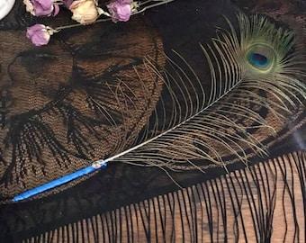 Peacock feather, ribbon wrapped fancy pen, Magical writing pen, Book of shadows pen
