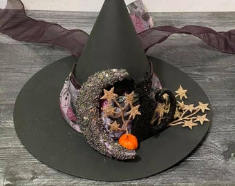 LARGE SIZE Limited Edition Crescent Moon Cat Halloween Witch Hat, Tree Topper, Glittery Witch Hat,  Decorative Witch Hat