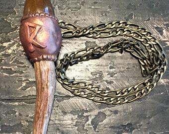 Antler Raidho Rune Necklace,Rustic Antler Necklace,Handcrafted Rune Pendant, Gemstone Futhark Viking Necklace,Norse Heathen Magical