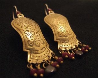 Long gold & red earrings,Ethnic jewelry,Elaborate pattern,Statement earrings,Bohemian jewelry,Brass sterling silver,gemstones,Etched earring