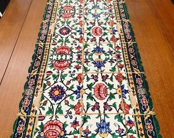 Fine pressed velvet table runner, Table decore, table tapestry, persian table runner, red table runner
