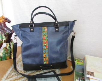 leather tote, Women bag, women shoulder bag, Women leather purse, large tote, Blue distressed leather women tote