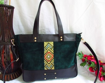 Green leather tote, large green bag, women leather bag, women tote, green suede bag, women shoulder bag,  leather women purse, large