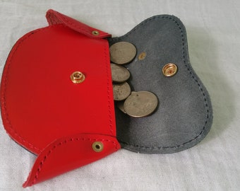 Coin purse, red coin bag, unique gift, credit card wallet, custom money clips, Gift cards coin pouches, made in ethiopia, leather coin bag,