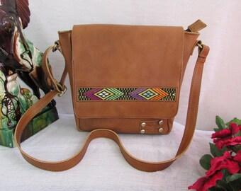 Vintage messenger bag, leather messenger bag, decorative messenger bag, brown distressed leather bag, mini book bag, mini messenger bag