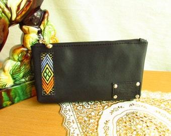 black women wallet, Black leather wallet, mini pouches, free shipping, leather pouches, women clutch