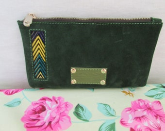 Green Leather wallet, Women's wallet, mini pouches, mother's day gift, leather pouches, women clutch, Adorable wallet, zipper wallet