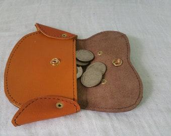 Brown coin bag, brown leather coin purse, coin pouches, leather pouches, brown money clips, leather money clips, brown pouches, coin holder
