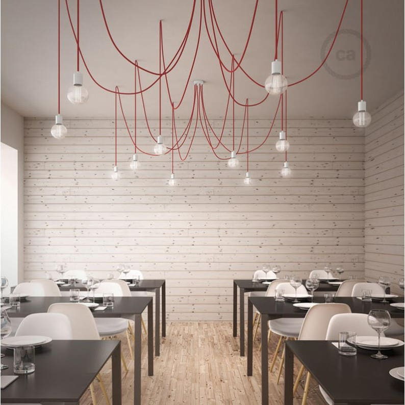Octopus pendant lamp with multiple arms and flexible red textile cable-4 colors of sockets and ceiling rose with choice-easy assembly