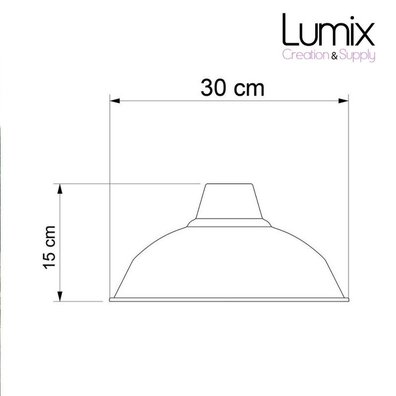 Pendant bistro metal coating black enamel and white interior