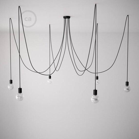 Lampe Suspension Octopus A Bras Multiples Et Cable Textile Etsy
