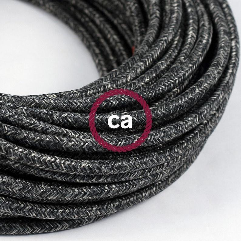 color of textile cable of choice Suspension flat shade ceramic enamel black enamel inside copper