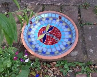 Bird Feeding Dish,Bird Feeder,Garden Feeder, Bird Seed Dish, Yard,Wildlife Garden,Bird Bowl,Mosaic Bird Dish,Garden Ornament,