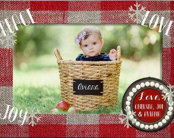 Peace, Love, and Joy Red and Tan Plaid 5x7 Christmas Holiday Photo Card