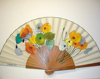 """Spanish fan/hand-painted fan/flamenco fan/wood fan  """"Poppy bouquet"""""""