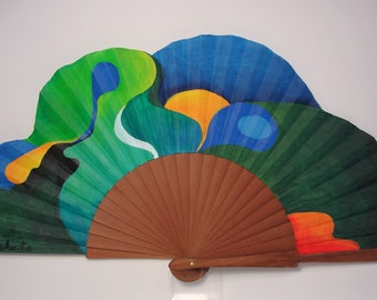 """Spanish fan/hand-painted fan/flamenco fan/wood fan """"Perfect  fusion"""""""
