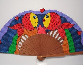 """Spanish fan/hand-painted fan/flamenco fan/wood fan """"Submarine Love"""""""