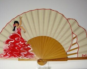 """Spanish fan/hand-painted fan/flamenco fan/wood fan  """"Gypsy dancing"""""""