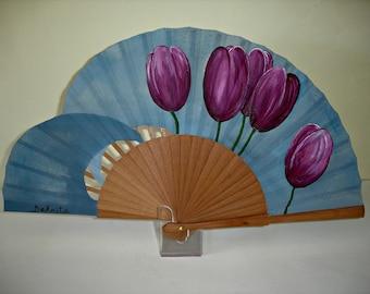 """Spanish fan/hand-painted fan/flamenco fan/wood fan """"Tulips lilacs"""""""