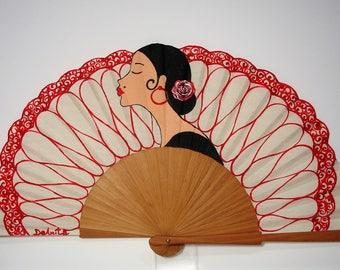 """Spanish fan/hand-painted fan/flamenco fan/wood fan """"The lady of black"""""""