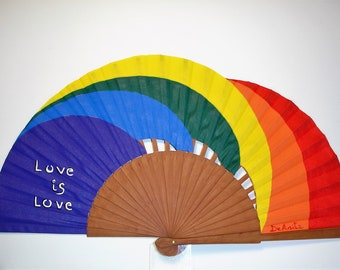 """Spanish fan/hand-painted fan/flamenco fan/wood fan """"LOVE is LOVE"""""""